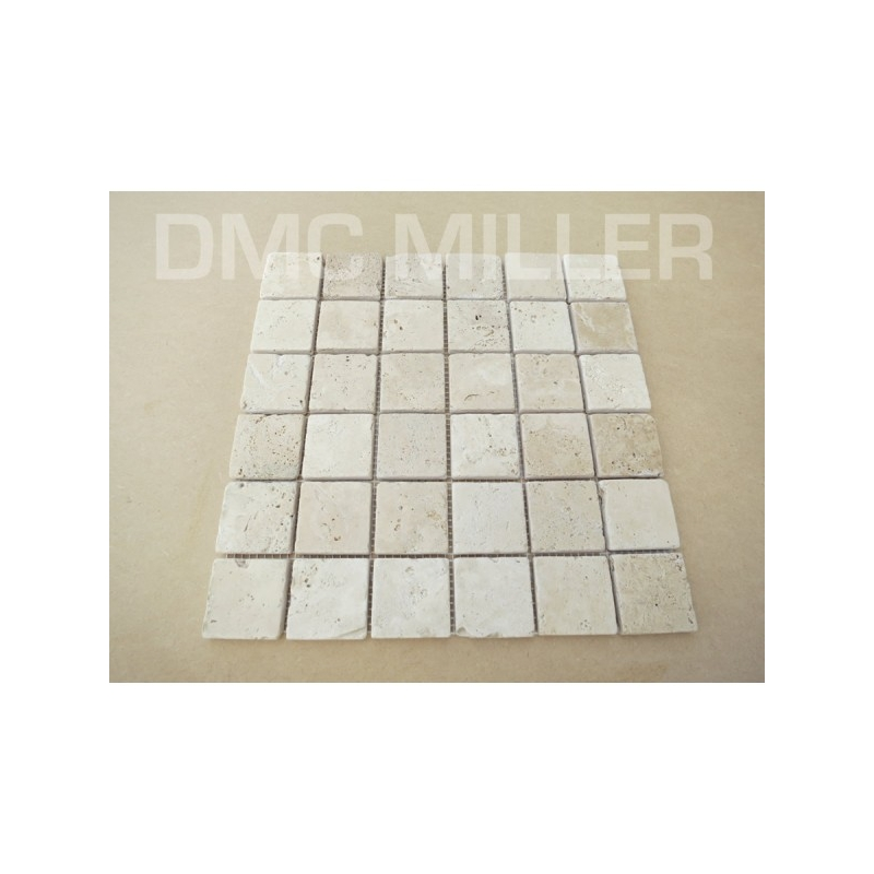 mosaique travertin light 48x48 sur trame de 30x30x1cm - dmc miller